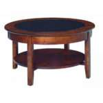 Aaron Glass Top Round Coffee Table Amish Crafted Furniture