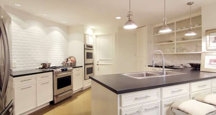 Beveled Subway Tile Backsplash Transitional Kitchen Cote