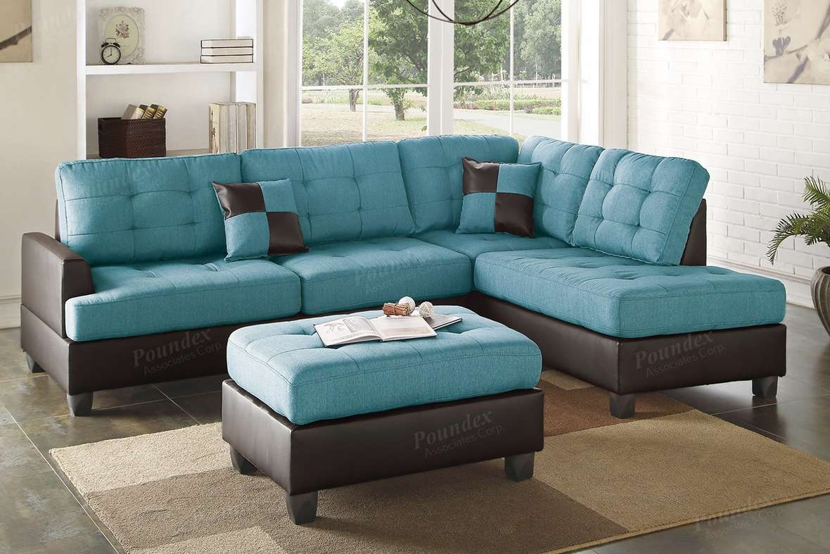 Blue Leather Sectional Sofa Ottoman Steal