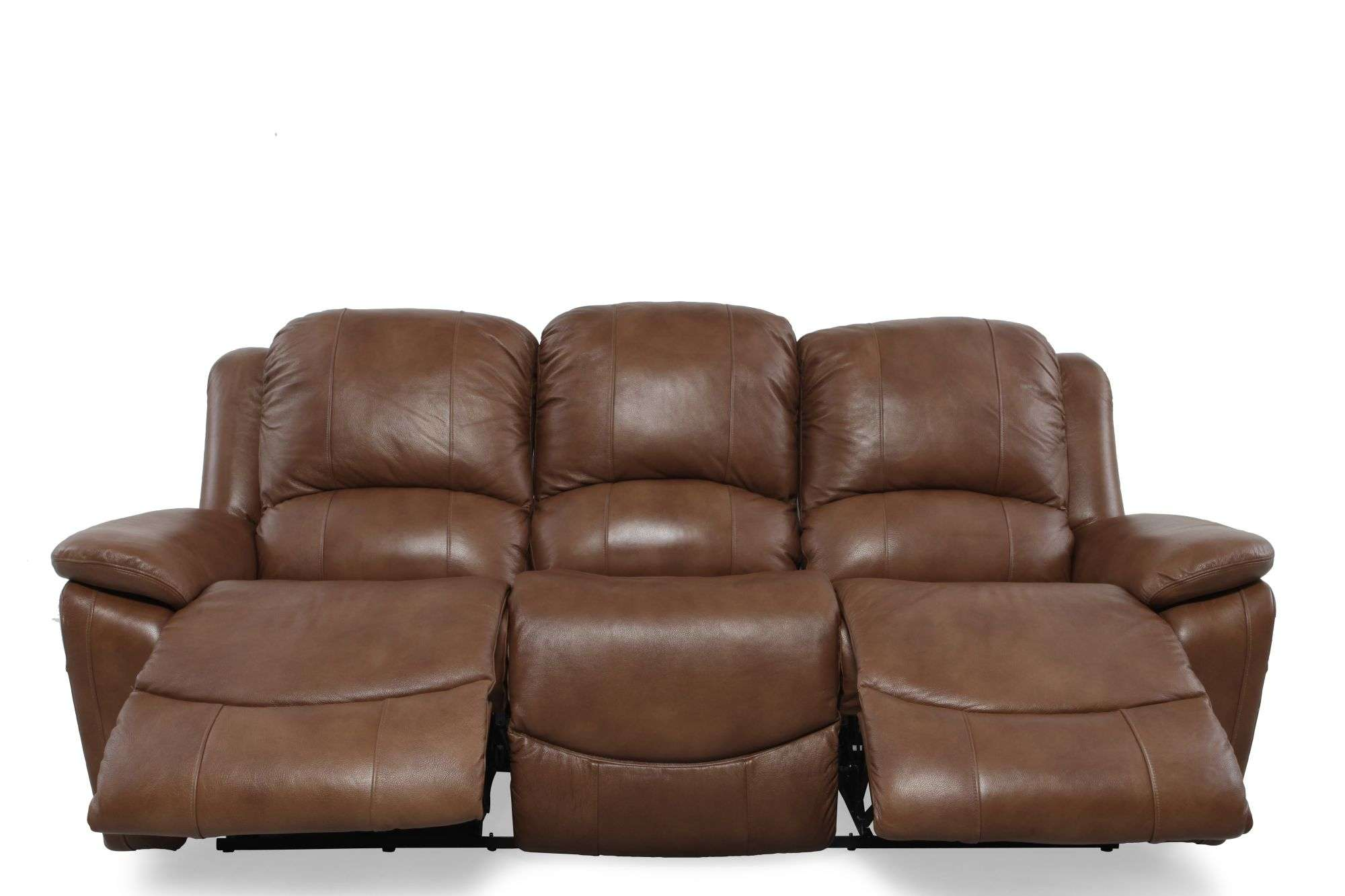 Boy Owen Wheat Leather Reclining Sofa Mathis Brothers Furniture