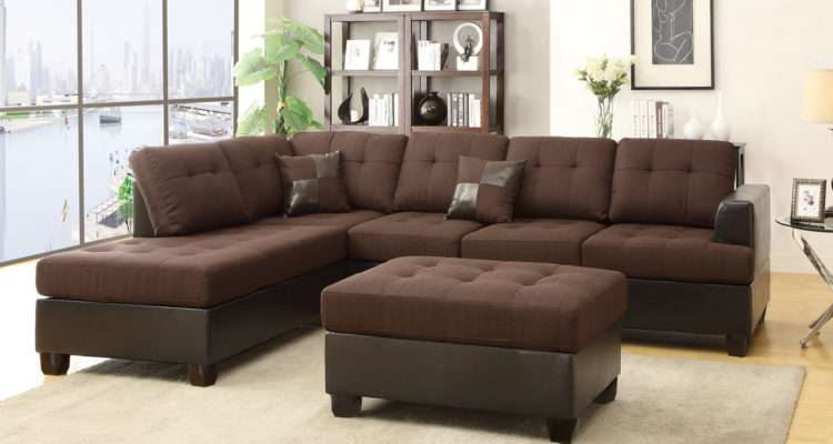 Brown Leather Sectional Sofa Ottoman Steal