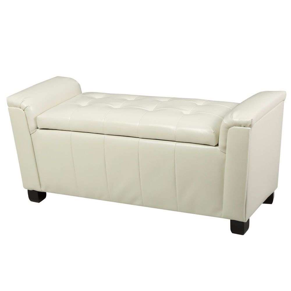 Contemporary Off White Tufted Leather Armed Storage