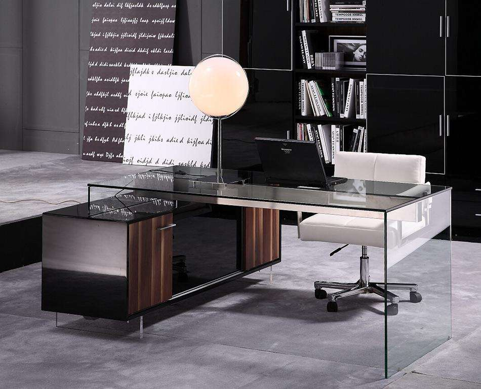 Contemporary Office Desk Thick Acrylic Cabinet