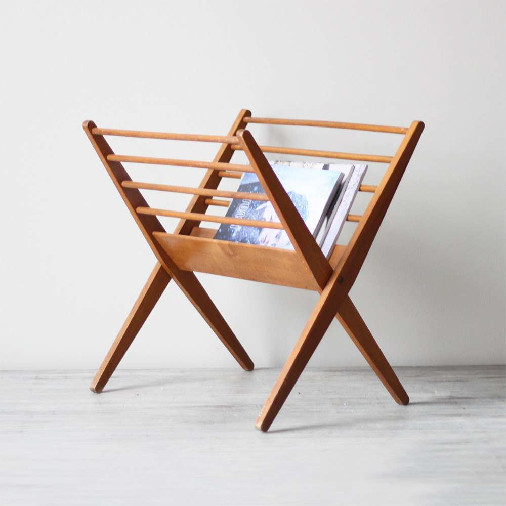Danish Modern Wood Magazine Rack Hruskaa Etsy