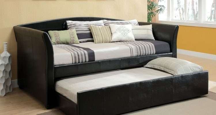 Delmar Black Leather Platform Daybed Twin Trundle