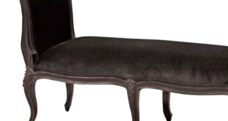 French Black Velvet Bench Stool
