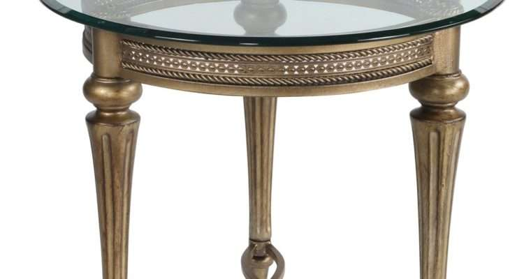 Galloway Glass Top Round End Table Subtle Gold Humble