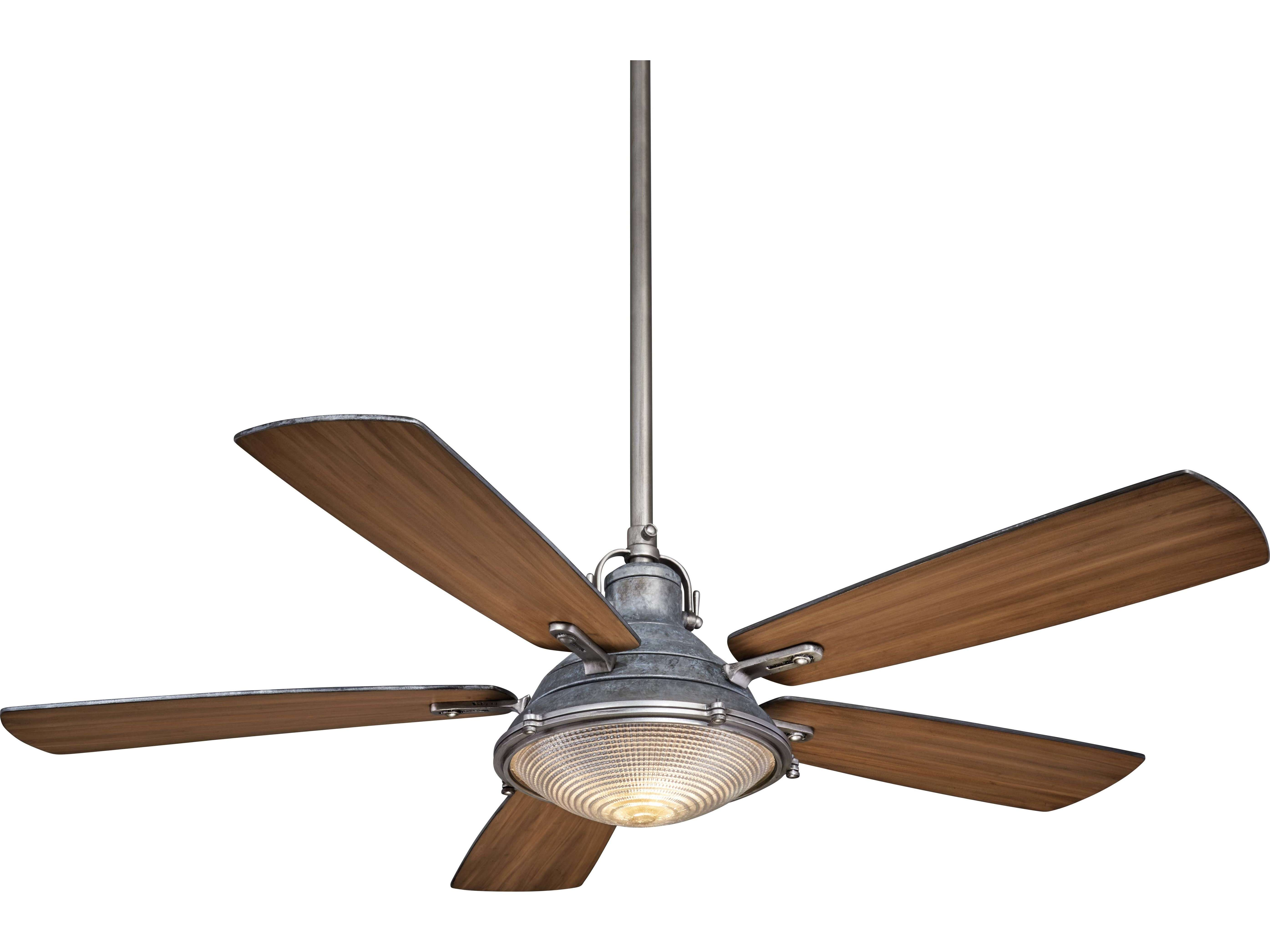 Galvanized Weathered Steel Two Light Wide Indoor Ceiling Fan
