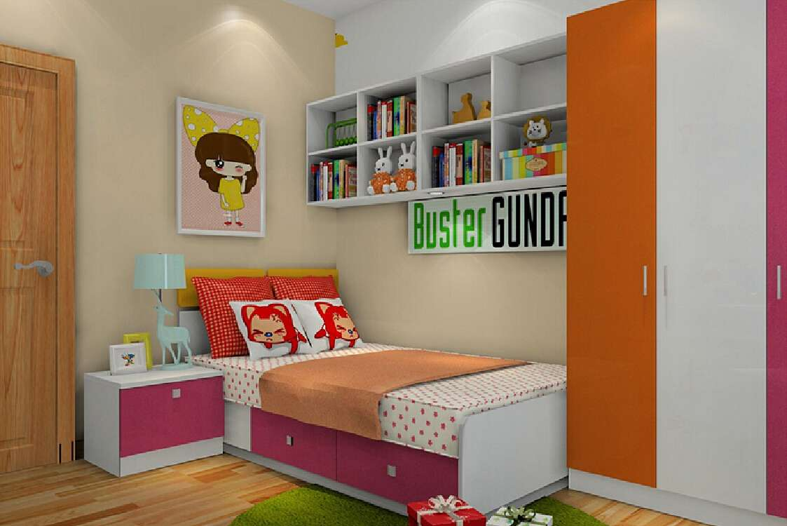 Girls Room Closet Above Bed House