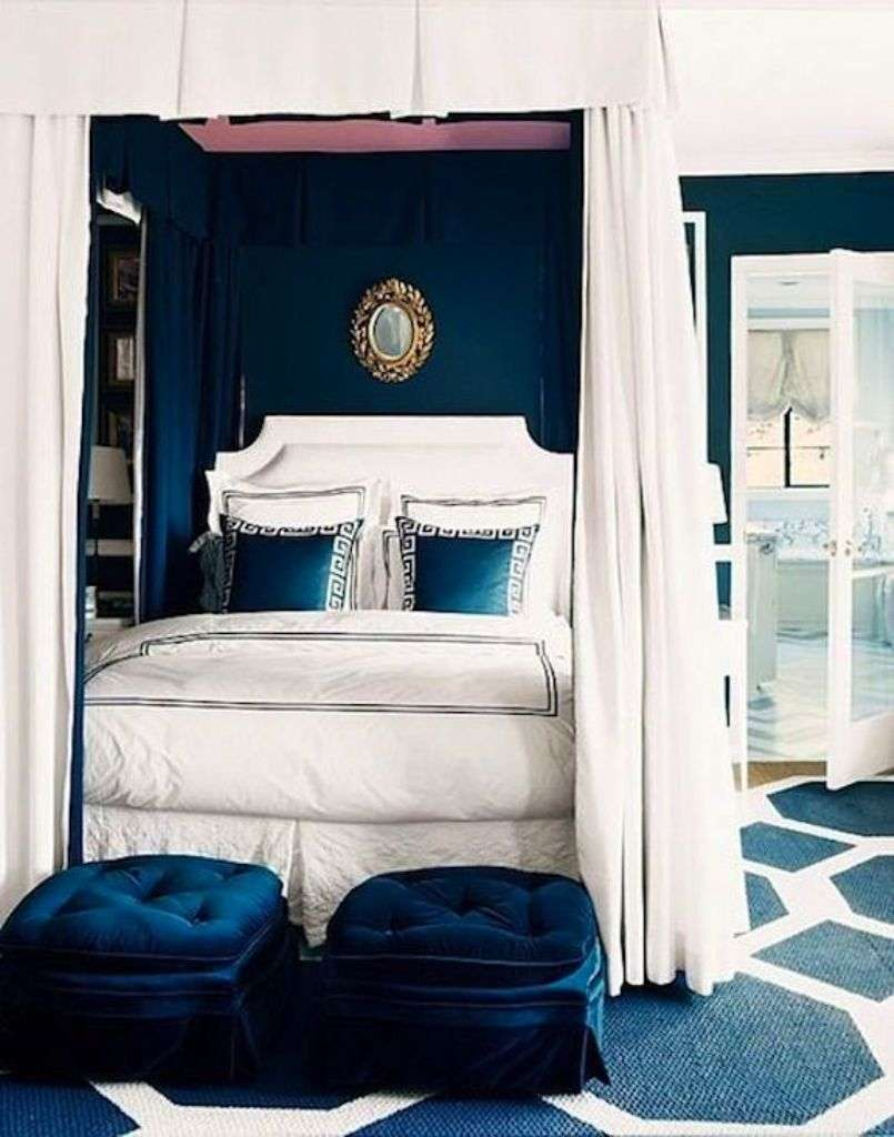 Glamorous Navy Blue Wall Color Wonderful Bedroom