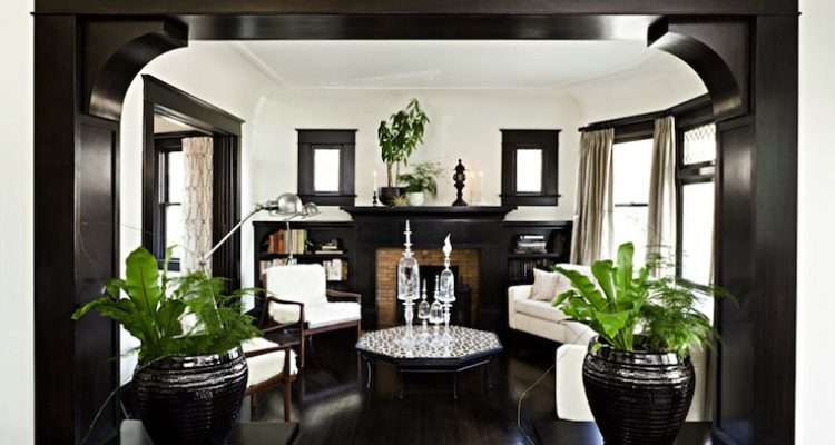 Gorgeous Living Room Glossy Black Brown Moldings Fireplace Built