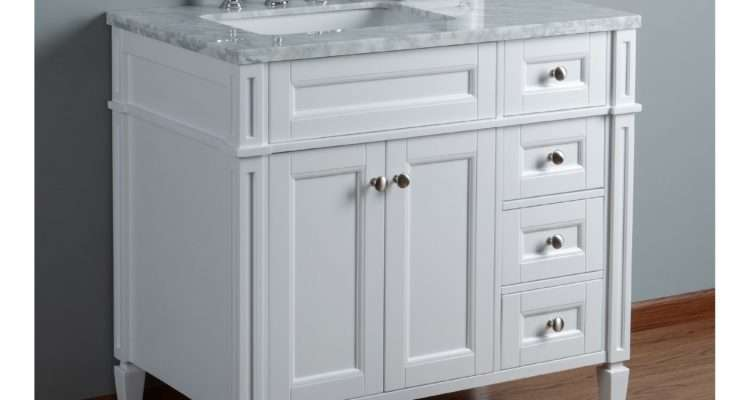 Inch White Single Sink Transitional Bathroom Vanity