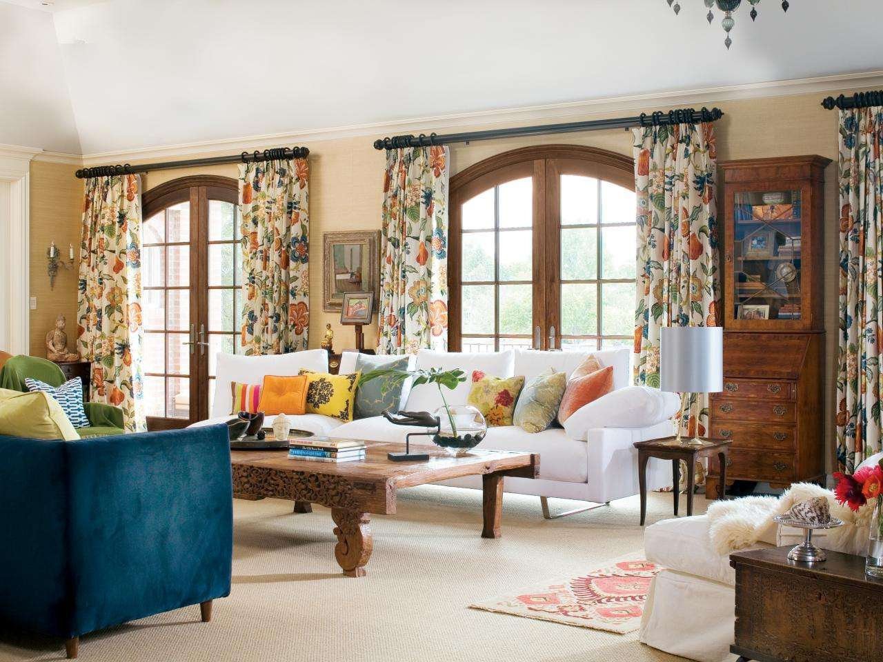 Living Room Attractive Floral Curtains Hgtv