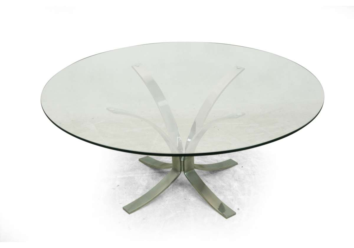 Mid Century Dining Coffee Side Chrome Glass Table