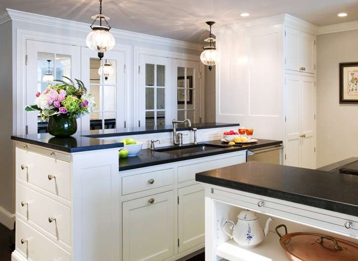 Mirrored Cabinet Doors Transitional Kitchen Lewis Interiors