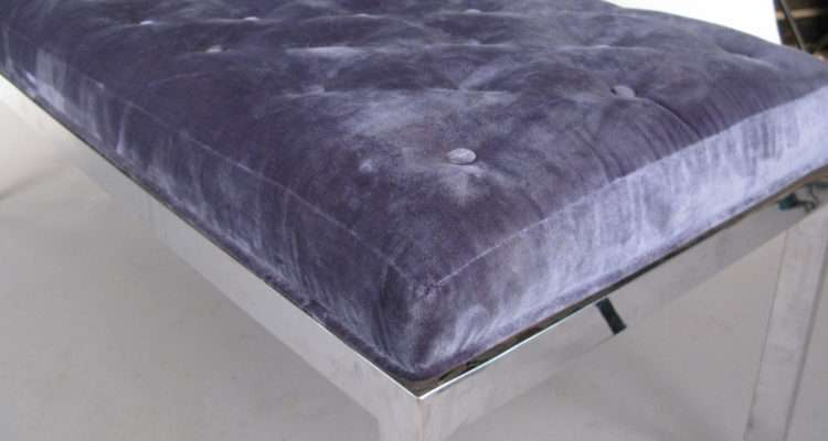 Modern Chrome Tufted Velvet Bench Stdibs
