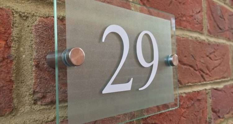 Modern House Hotel Sign Plaque White Door Number Glass
