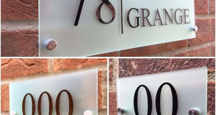 Modern House Sign Plaque Door Number Street Frosted Glass