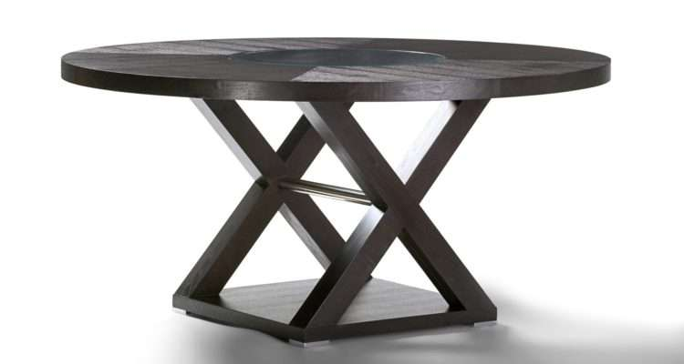 Nice Metal Round Dining Table Inch Wood