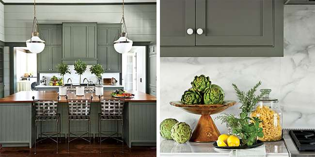Painted Cabinets Sherwin Williams Oyster Bay Pewter Green Via Dicorcia