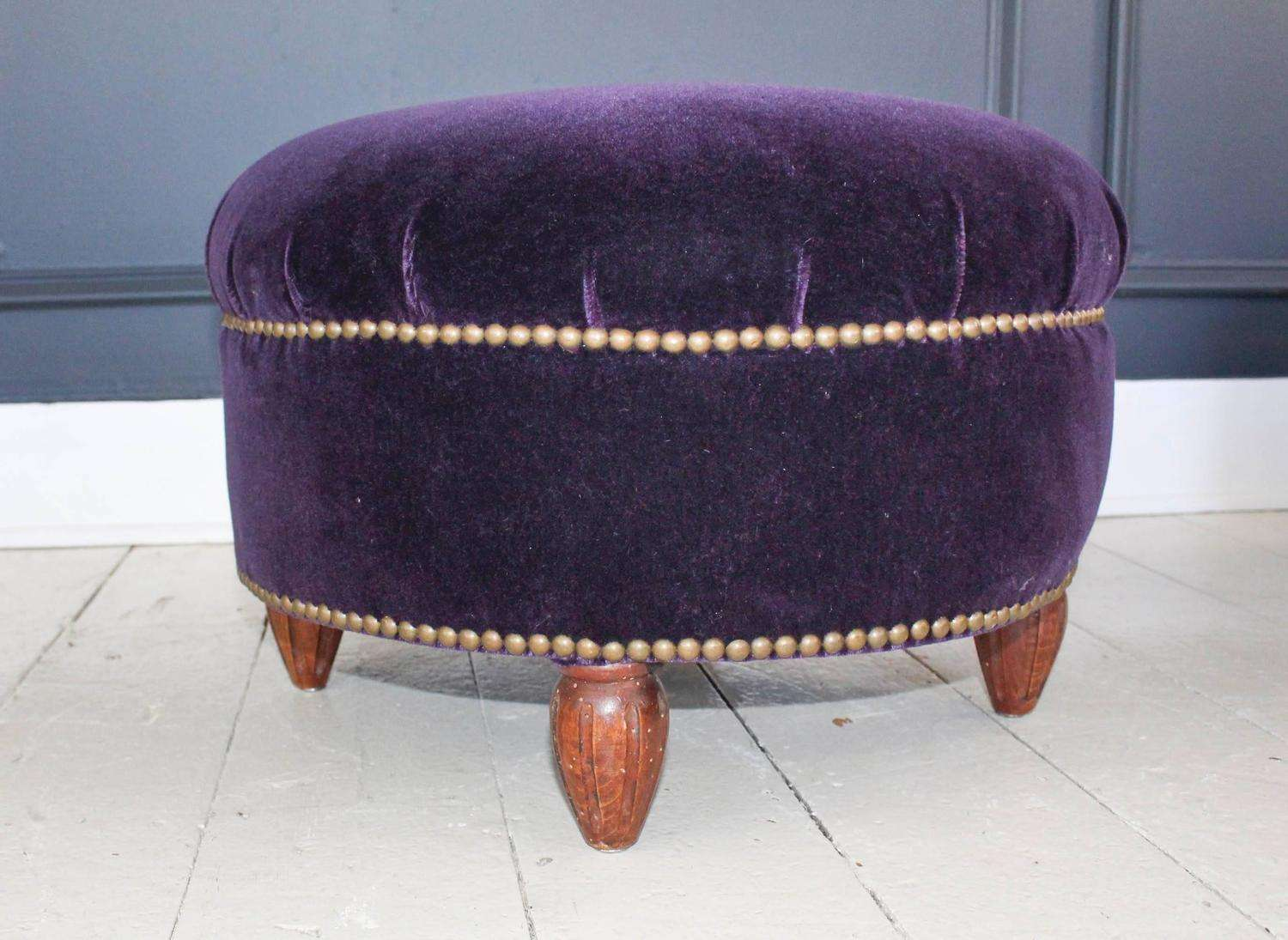 Pair French Mohair Velvet Ottomans Stdibs