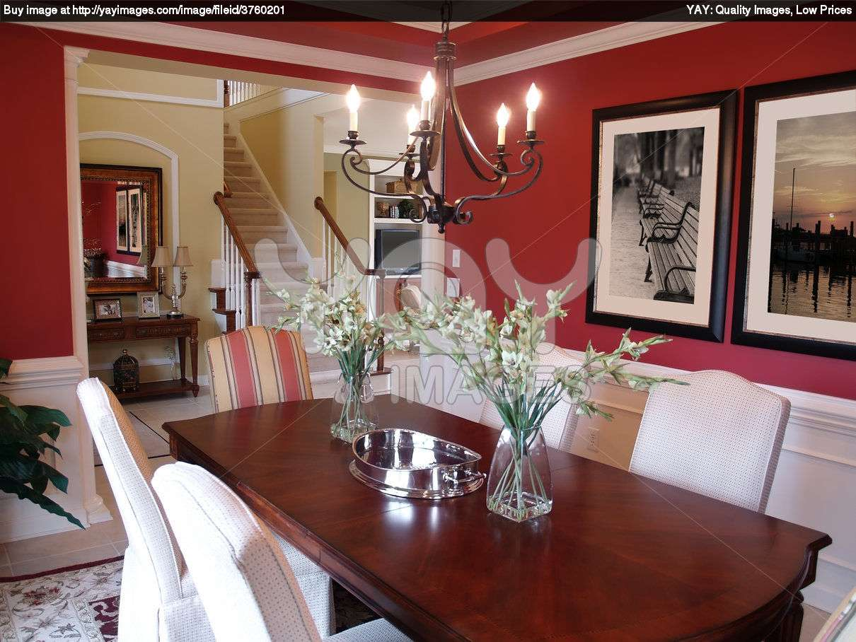 Red Dining Room Interior Idea Develop Into One Attractive