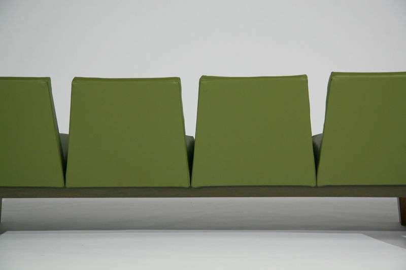 Rosewood Green Leather Sofa Floating Ends Atelier