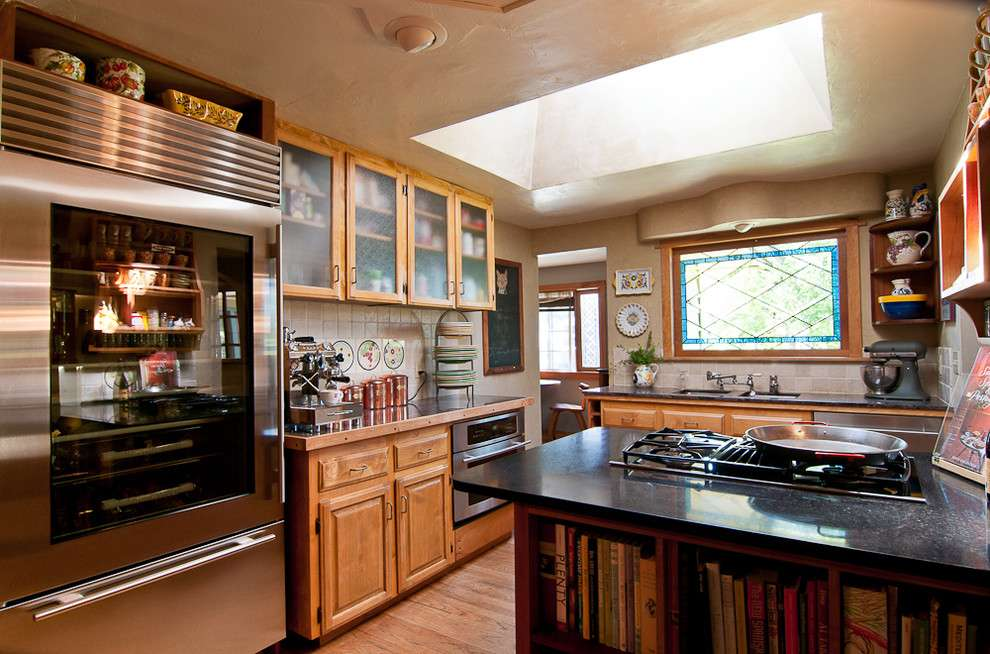 Through Refrigerators Kitchen Traditional Cabinets