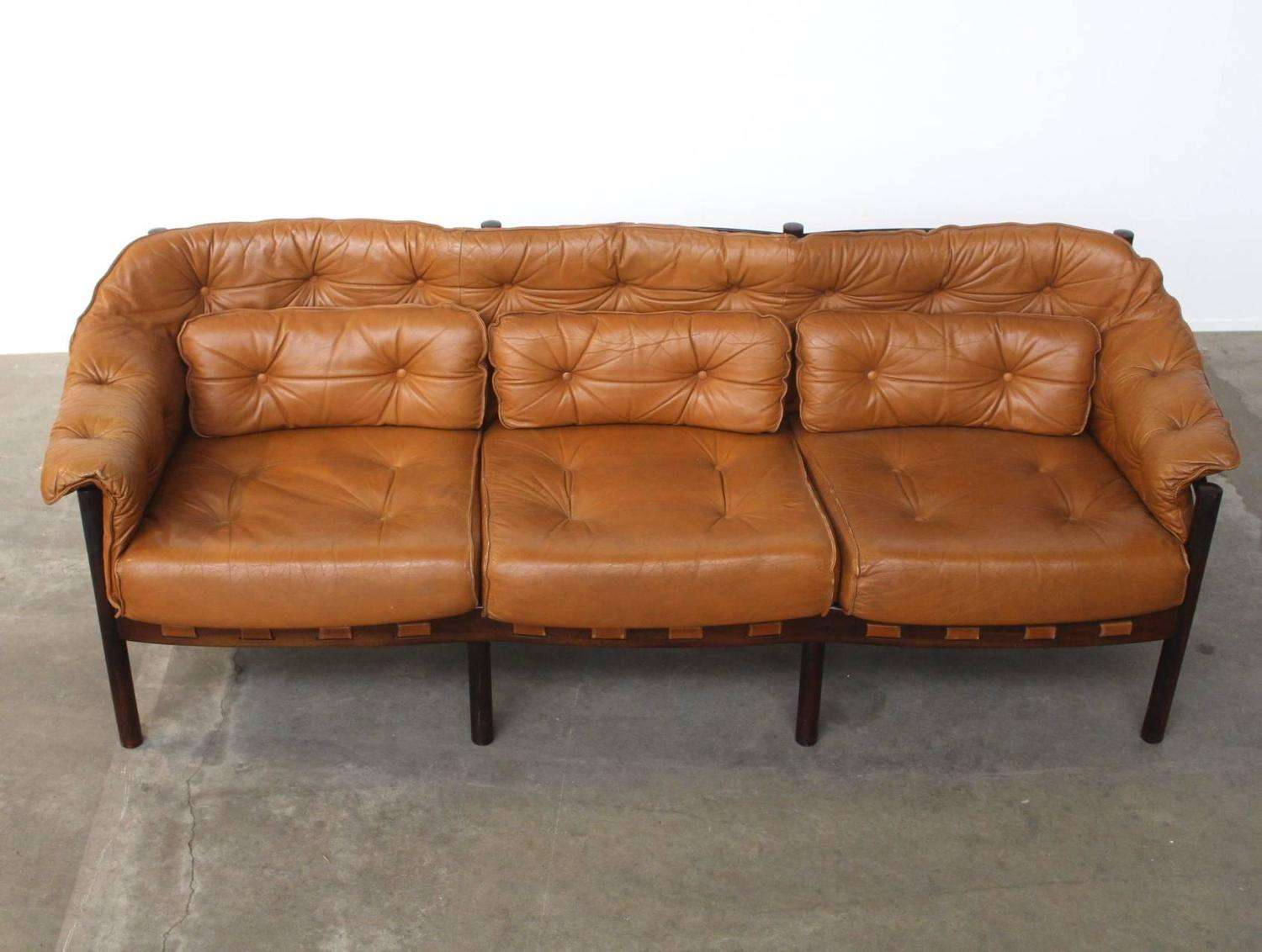 Tufted Leather Camel Colored Three Seat Arne Norell Sofa Stdibs