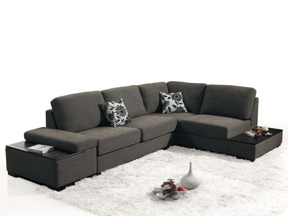 Vig Fabric Convertible Chaise Sectional Sofa Bed