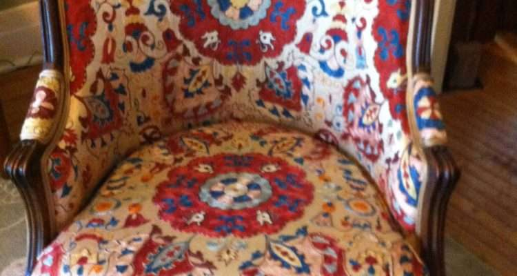 Vintage Walnut Chair Covered Silk Suzani