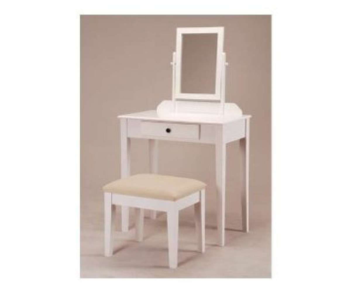 White Bedroom Vanity Table Tilt Mirror Cushioned Bench