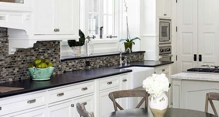 White Counter Tops Cabinets Subway Tile