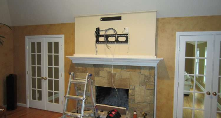 Woodbridge Mounted Over Fireplace All Wires Hidden Richey